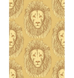 Sketch cute lion in vintage style vector image