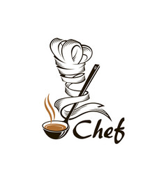 soup ladle and chef hat vector image