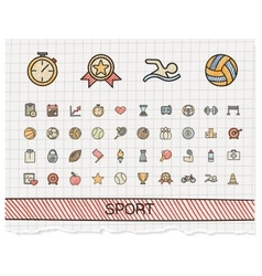 Sport hand drawing line icons doodle vector image