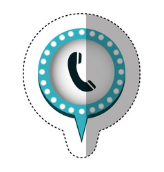 Sticker of telephone in circular speech with blue vector