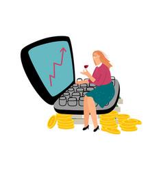 Successful female investor vector