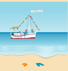 summer holiday 2020 concept with sailboat in the vector image