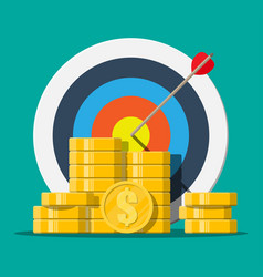 target with arrow and pile gold coins vector image