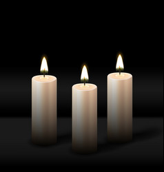three burning realistic pillar candle on black vector image