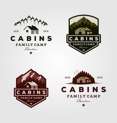Vintage cabins logo collections vector