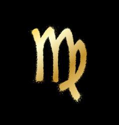 Virgo zodiac sign gold paint sprayed icon vector