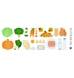 vitamin a foods flat icons set with milk salmon vector image