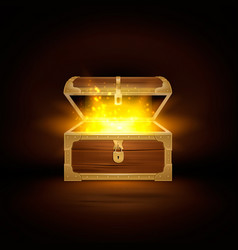 wooden chest shine composition vector image