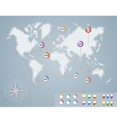 World map circle percentage infographics EPS10 vector image