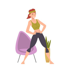 Young woman doing morning workout indoor physical vector