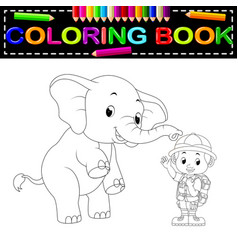 zookeeper and elephant coloring book vector image