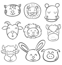 animal head design of doodle style vector image vector image