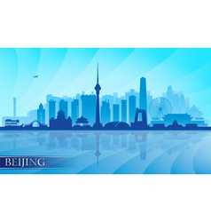 Beijing city skyline detailed silhouette vector image