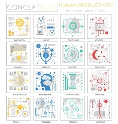 Infographics mini concept Human productivity icons vector image vector image