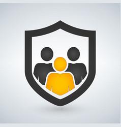man people shield insurance icon vector image