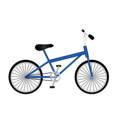 silhouette of sport blue bike in white background vector image