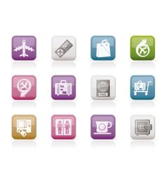 airport and transportation icons 1 vector image