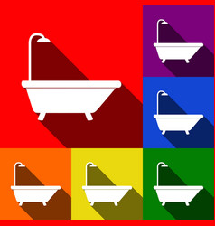 bathtub sign set of icons with flat vector image
