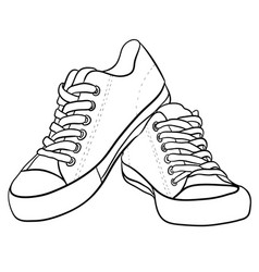 contour black and white of sneakers vector image