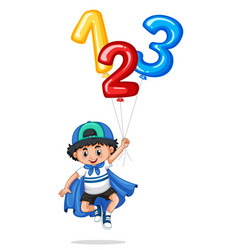 little boy and balloon numbers one two three vector image vector image