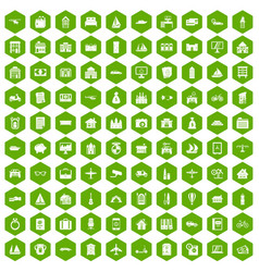 100 property icons hexagon green vector image vector image
