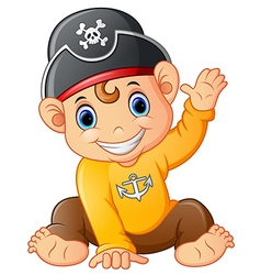 baby pirate waving hand vector image vector image