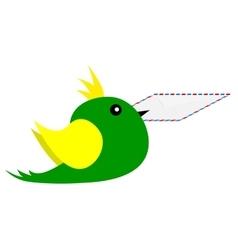 Bird with an envelope in its beak vector