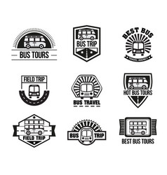 bus trip and trvel tour badge logo vector image vector image