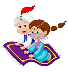 Cartoon Aladdin on a flying carpet traveling vector image vector image