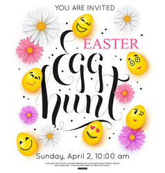 easter egg hunt invitation with colorful spring vector image