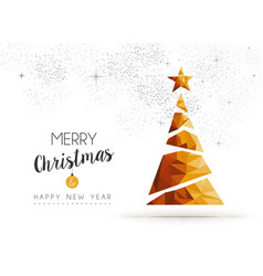 Gold Christmas and new year pine tree low poly art vector image