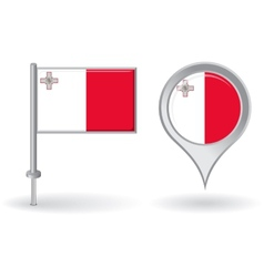 Maltese pin icon and map pointer flag vector image vector image
