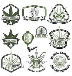 set of medical marijuana labels cannabis design vector image