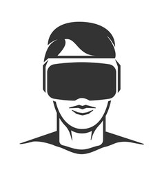 virtual reality man silhouette vector image