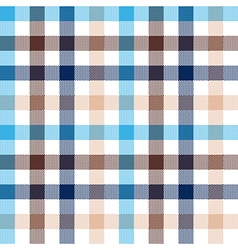Blue beige check seamless fabric texture vector image