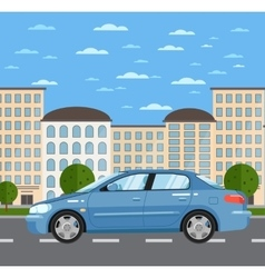 Blue comfortable sedan on road in city vector image vector image