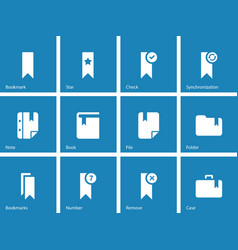 Bookmark tag favorite icons on blue background vector image