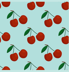 cartoon fresh cherry fruits in flat style seamless vector image