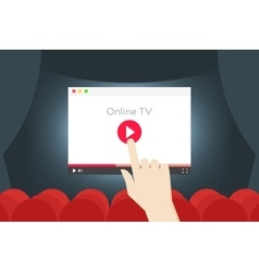 Online TV Flat I Hand Over vector image