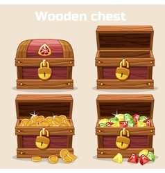 Opened and closed antique chest with coins vector image