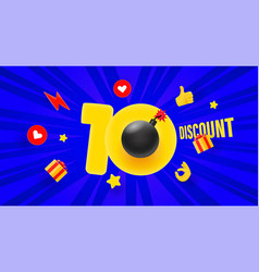10 percent discount offer sale banner with rays vector