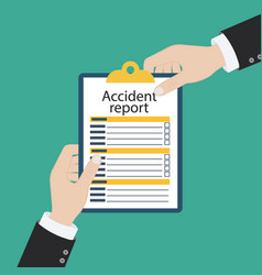 Accident report form man write application pen vector