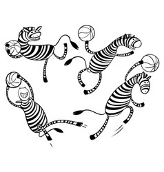 Basketball game set with doodle cute zebra player vector