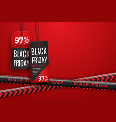 black friday realistic paper price tag and danger vector image