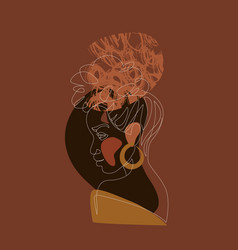 Black woman afro portrait with geometric shapes vector