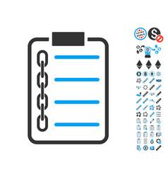 blockchain contract icon with bonus symbols vector image