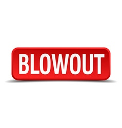 Blowout red three-dimensional square button vector