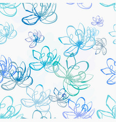 Blue off white flower seamless bright pattern vector
