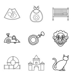 Calash icons set outline style vector
