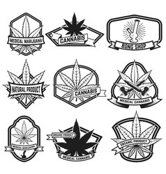 Cannabis labels medical marijuana design elements vector